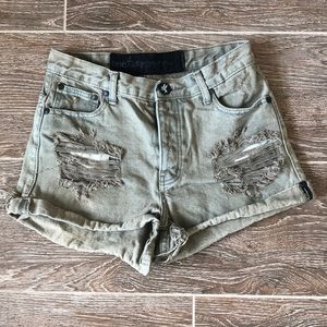 One Teaspoon High Waisted Khaki  Shorts - Size 28